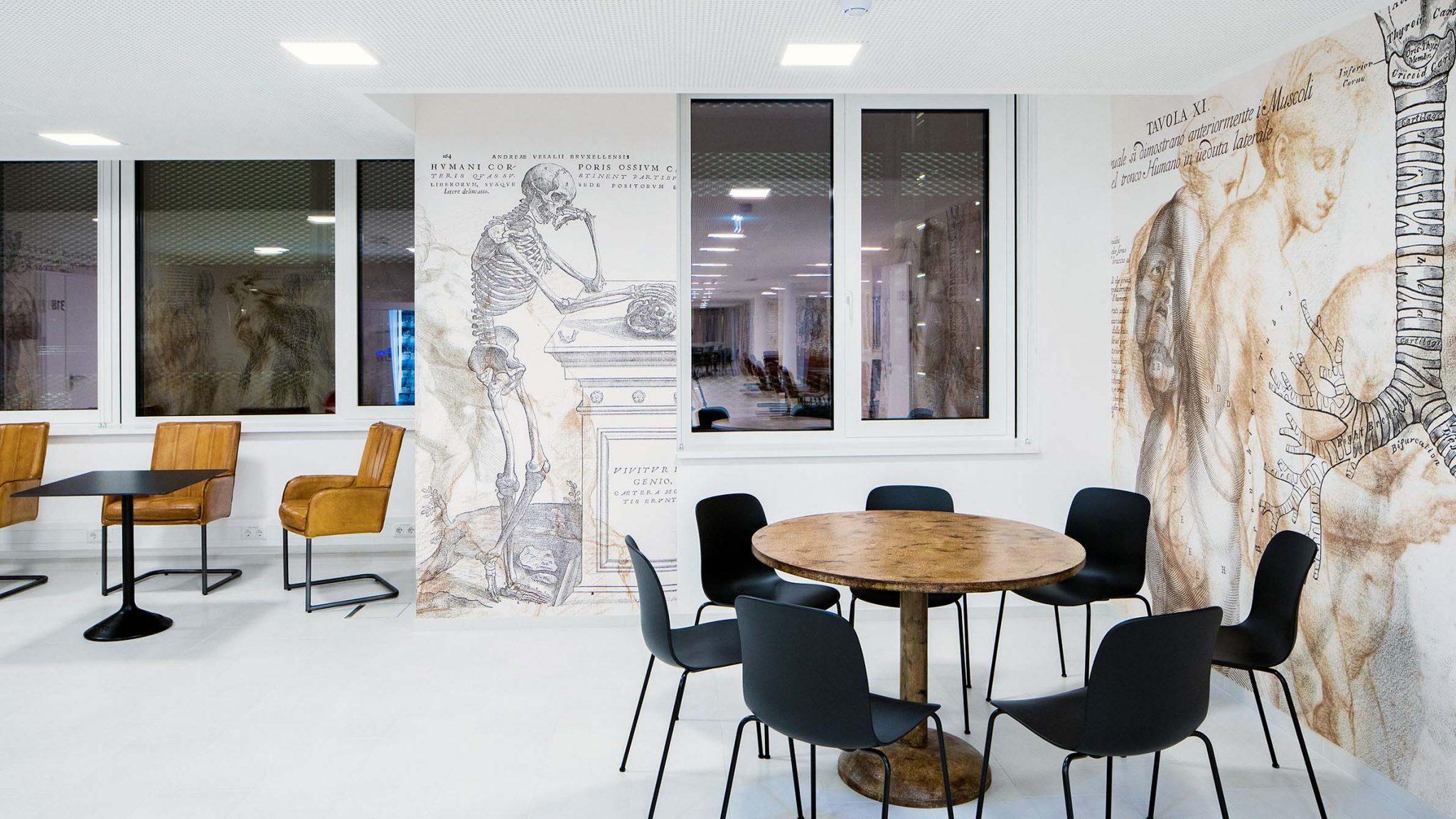 Lounge mit Lederstühlen und eckigen und runden Tischen. Tapete mit neu arrangierten Zeichnung von Vesalius.